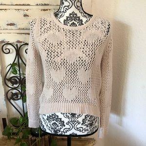 Lauren Conrad cream heart detail knit sweater